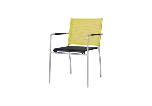 MAMAGREEN NATUN DINING ARMCHAIR WITH STAINLESS STEEL FRAME AND STANDARD BATYLINE SLING