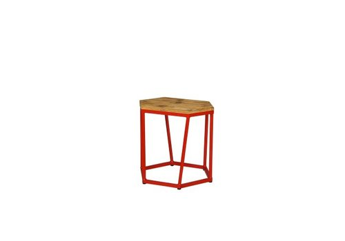 MAMAGREEN POLYGON STOOL/SIDE TABLE WITH TEAK LAMIANTED RUSTIC TOP AND POWDER COATED ALUMINUM BASE