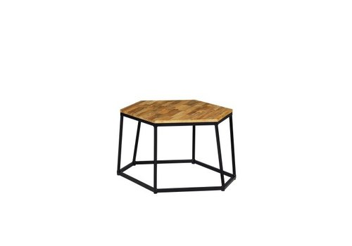 MAMAGREEN POLYGON LARGE STOOL/COFFEE TABLE WITH LAMINATED RUSTIC TEAK TOP AND POWDER COATED ALUMINUM FRAME