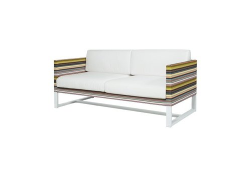 MAMAGREEN STRIPE 2-SEATER SOFA, POWDER COATED ALUMINUM FRAME, TEXTILENE TWITCHELL STRIPES UPHOLSTERY AND SUNBRELLA CANVAS FABRIC