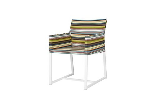 MAMAGREEN STRIPE DINING ARM CHAIR, POWDER COATED ALUMINUM FRAME, TEXTILENE TWITCHELL STRIPES UPHOLSTERY