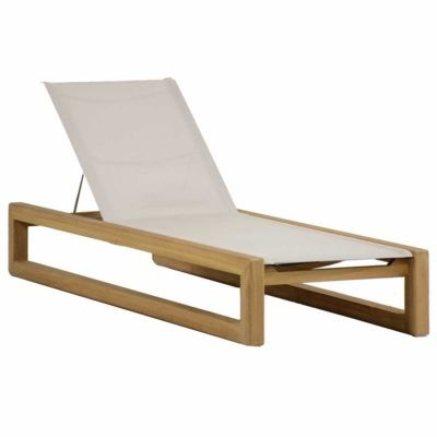 Summer classics bali chaise lounge in oyster teak for Balinese chaise lounge