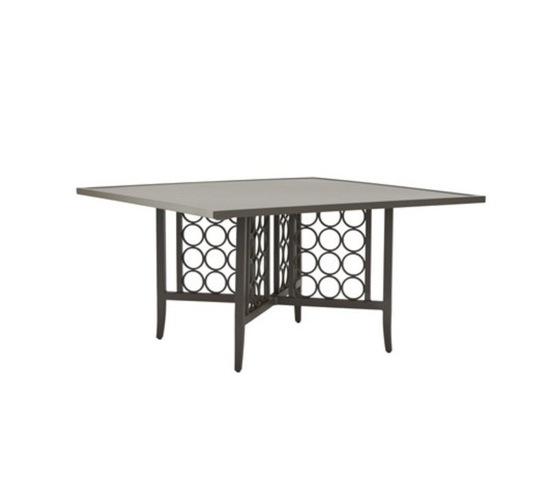 LUNA 56x56 SQUARE DINING TABLE WITH SOLID ALUMINUM TOP (no umbrella hole)