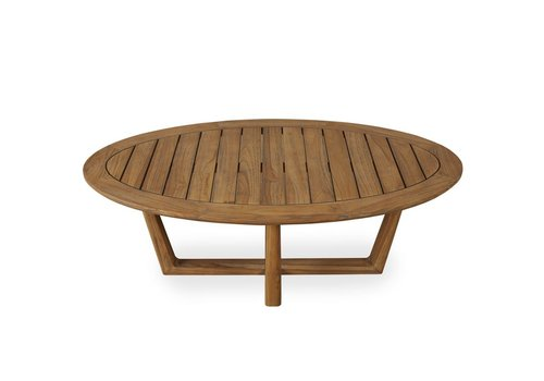LLOYD FLANDERS TEAK 48 INCH OVAL COCKTAIL TABLE WITH SLED BASE