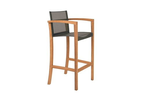 ROYAL BOTANIA XQI BAR CHAIR WITH TEAK FRAME AND BLACK SLING