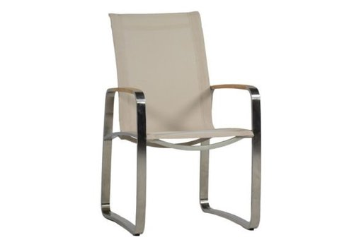 SUMMER CLASSICS DELRAY ARM CHAIR WITH STAINLESS STEEL FRAME AND CANVAS SLING