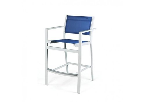 PAVILION BLEAU BAR CHAIR WITH ARMS, REGULAR SLING, STANDARD POWDER COATED ALUMINUM FINISH