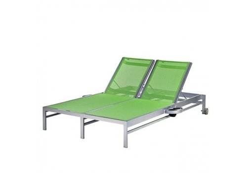 PAVILION BLEAU DOUBLE CHAISE LOUNGE W/ WHEELS AND ATTACHED SIDE TRAYS, REGULAR SLING, STANDARD POWDER COATED ALUMINUM FRAME