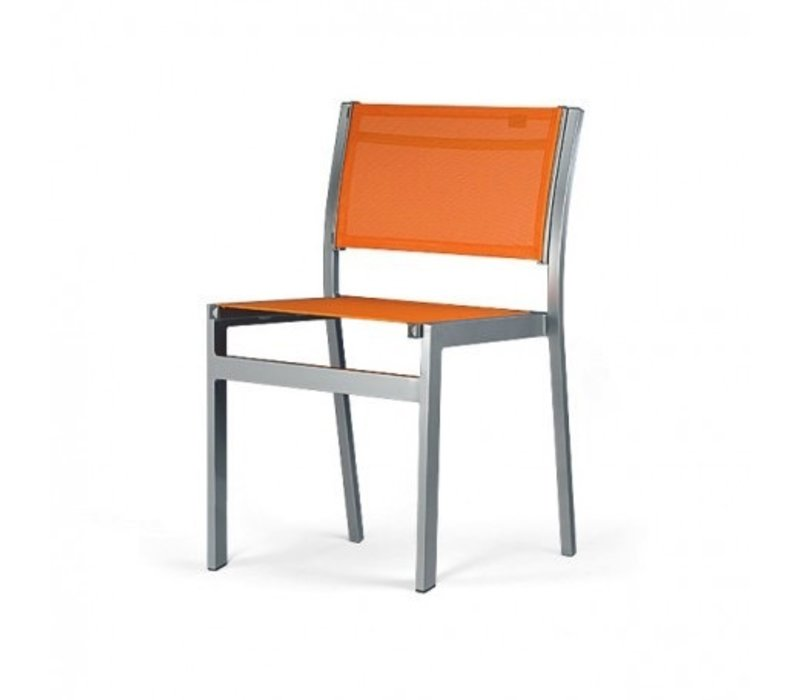 BLEAU STACKING SIDE CHAIR, REGULAR SLING, STANDARD POWDER COATED ALUMINUM FRAME