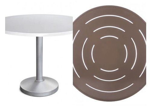 PAVILION PEDESTAL 42 INCH ROUND DINING TABLE WITH POWDER COATED ALUMINUM BASE AND SLOTTED TOP