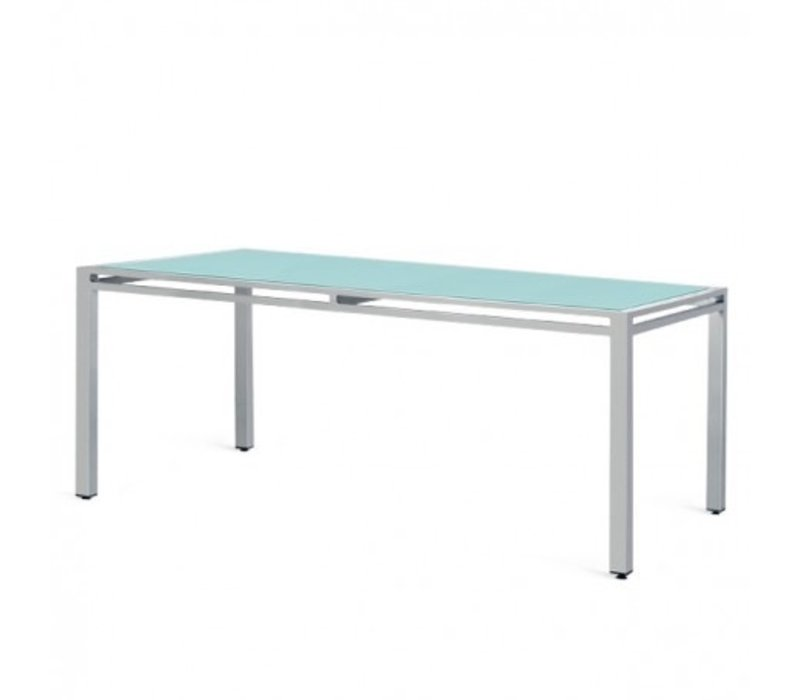 "BLEAU 42 x 72 DINING TABLE - 3/8"" OPAQUE COLORED TEMEPERED GLASS / POWDER COATED ALUMINUM FRAME"