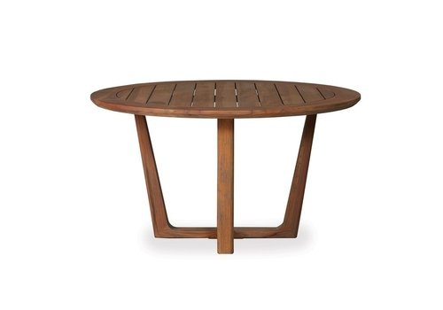 LLOYD FLANDERS TEAK 54 INCH ROUND DINING TABLE WITH SLED BASE