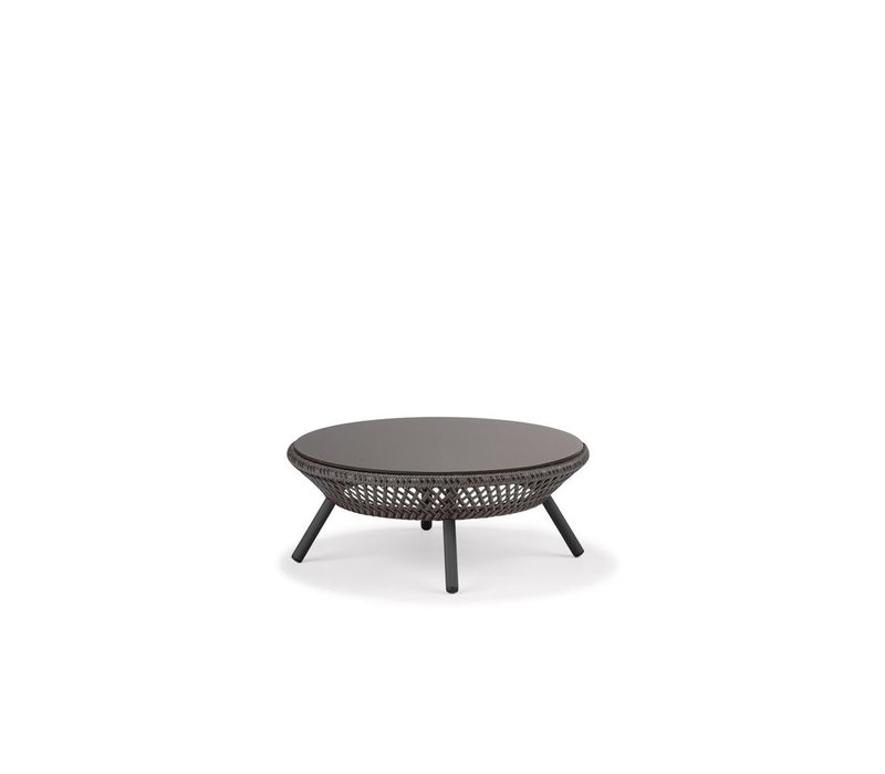AHNDA COFFEE TABLE IN GRAPHITE WEAVE WITH VULCANO GLASS TOP