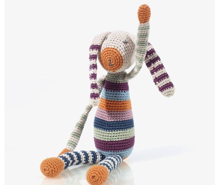 Pebbles Pebbles, Stripey Bunny Rattle, Organic