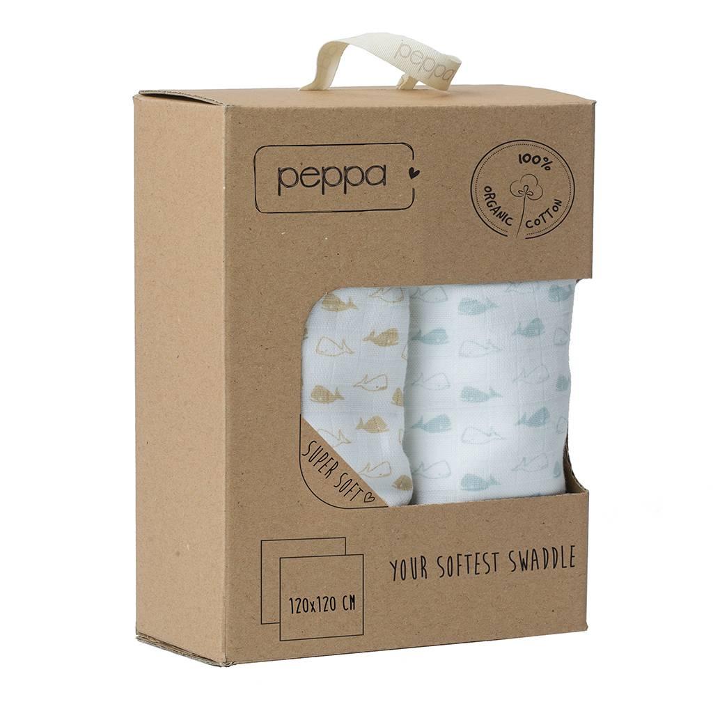 Pebbles Peppa, Organic Cotton Muslin Swaddle
