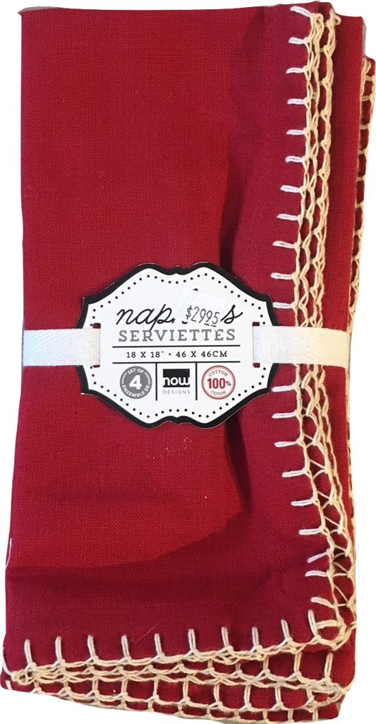 Napkins Red with white stitch (4)