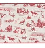 Cork-Backed  Placemats Winter Toile Red & White