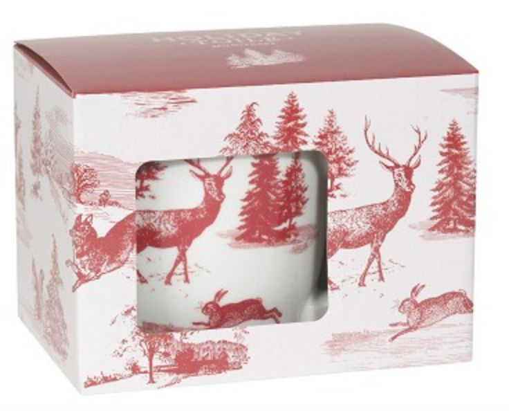 Holiday Deer Mug in a box red & white