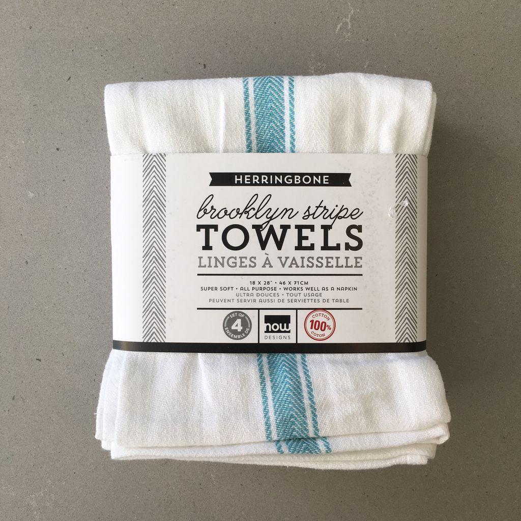 Brooklyn Stripe Towels Turquoise (set 4)