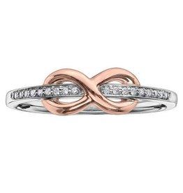 White & Rose Gold (0.05cttw) Infinity Diamond Ring
