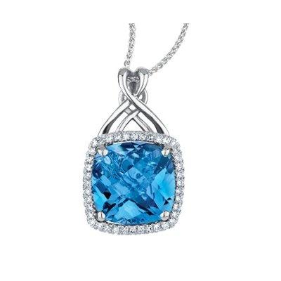 Blue Topaz & Diamonds