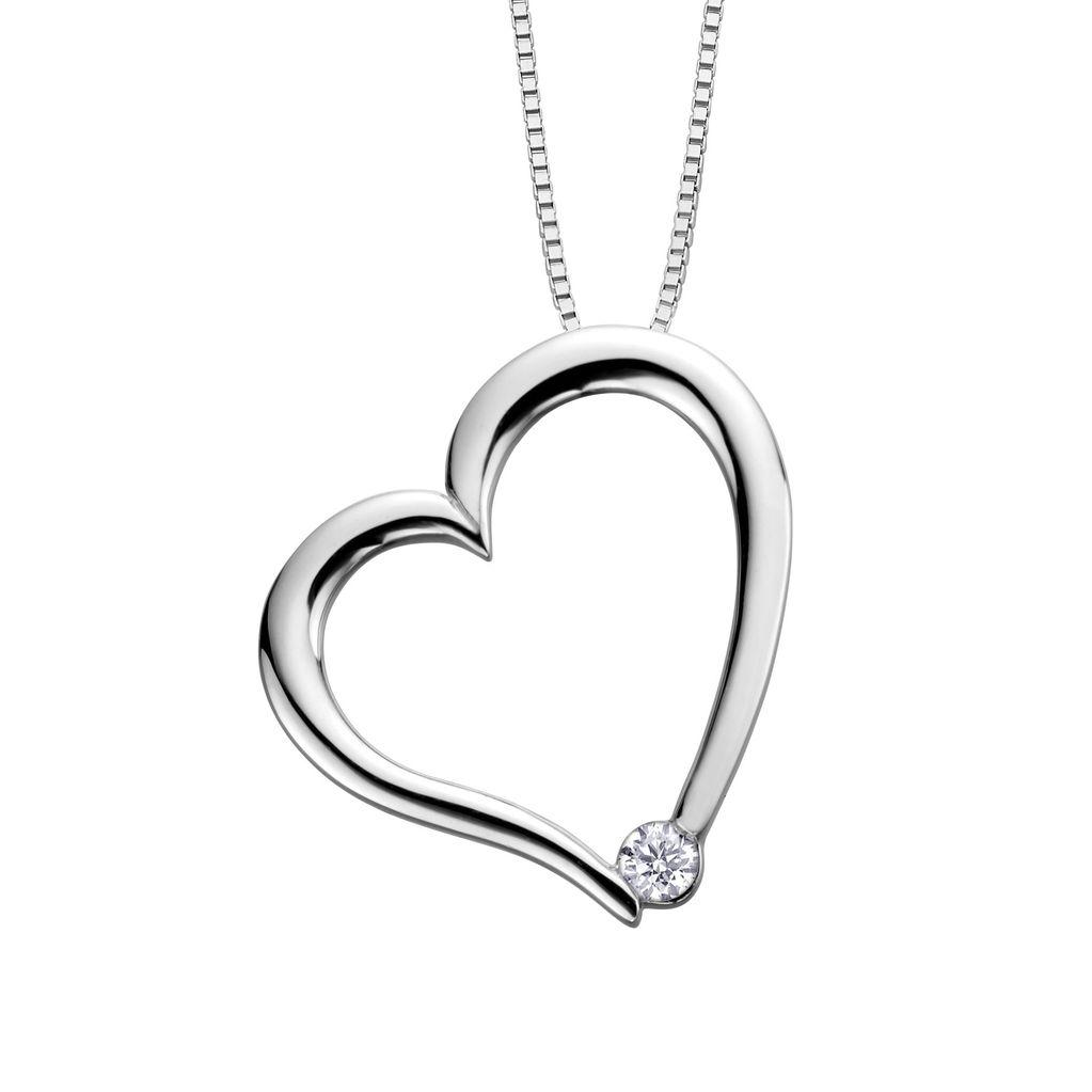 I am Canadian White Gold (0.03ct) Canadian Diamond Heart Pendant
