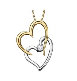 I am Canadian Yellow & White Gold (0.04ct) Canadian Double Heart Pendant