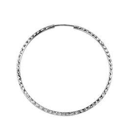 Diamond Cut Hoops (50mm) White Gold