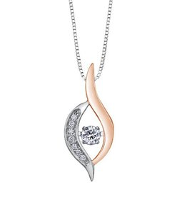 White & Rose Gold (0.10cttw) Dancing Diamond Pendant