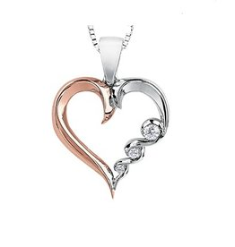 Maple Leaf Diamonds White & Rose Gold (0.08ct) Canadian Diamond Pendant
