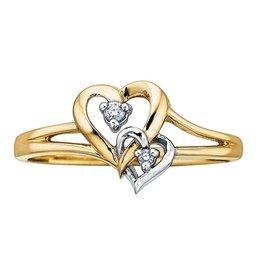 Double Heart Diamond Yellow & White Gold Ring