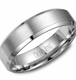Bevelled (6mm) White Gold Brushed Band