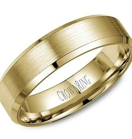 Bevelled (6mm) Yellow Gold Brushed Band