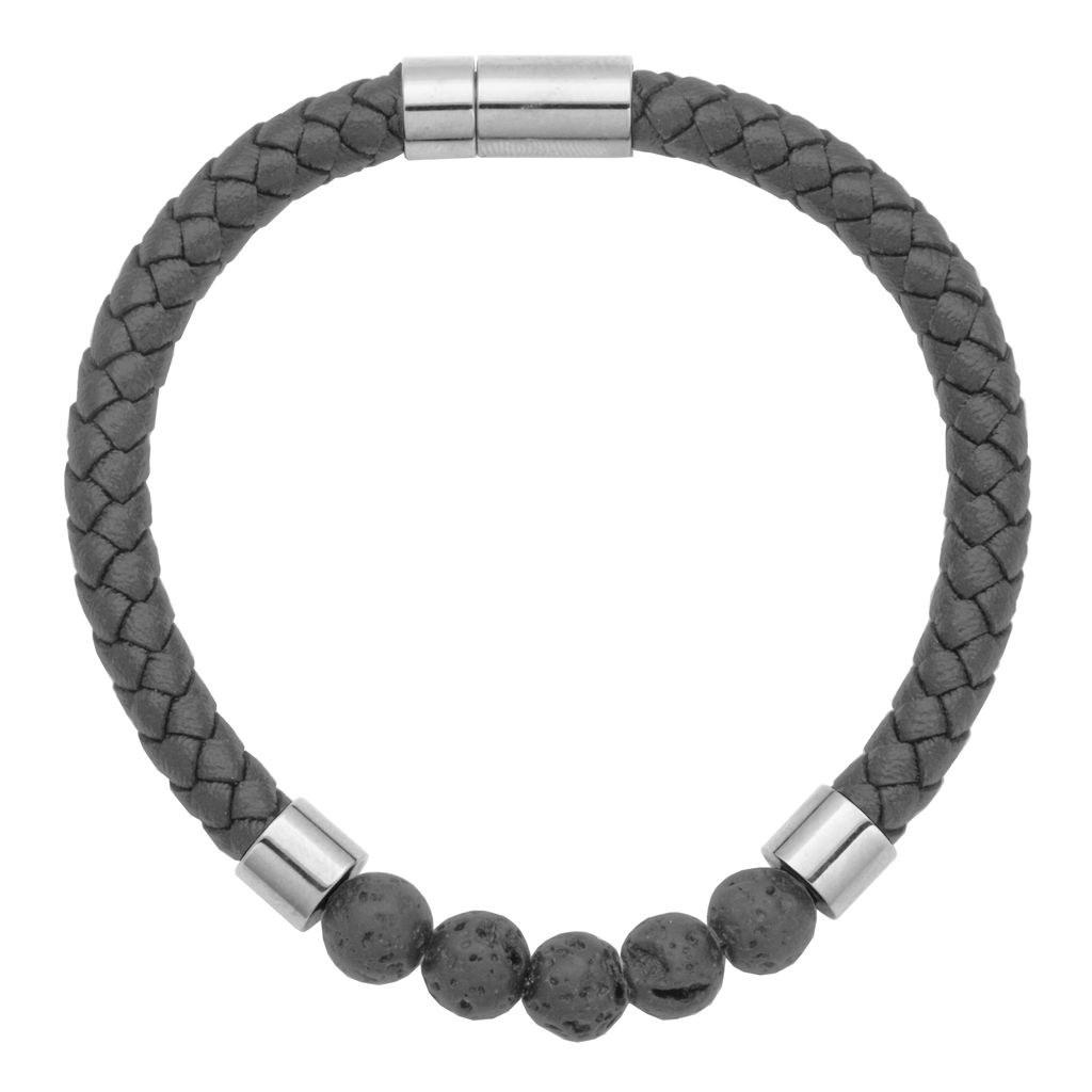 Steelx Steel/Leather/Lava Beads