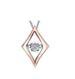 White & Rose Gold (0.02ct) Dancing Diamond Pendant
