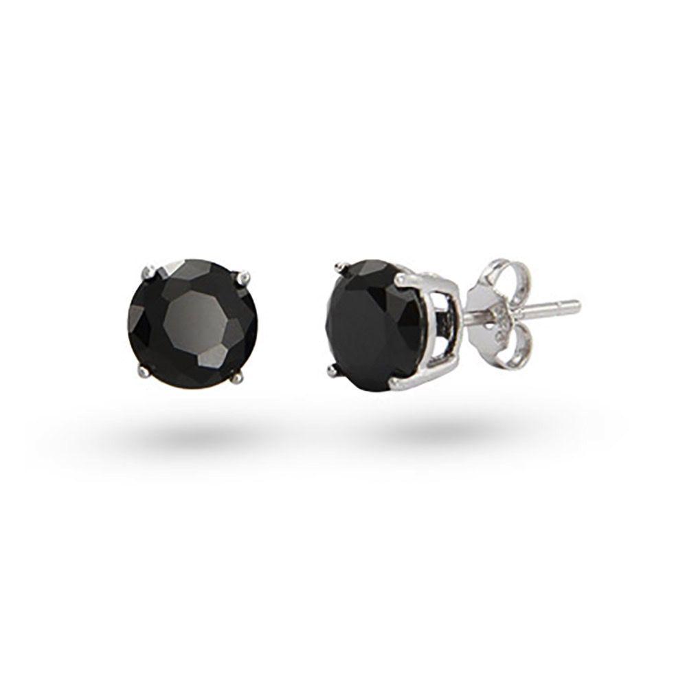 Studs Round Black CZ (4mm)
