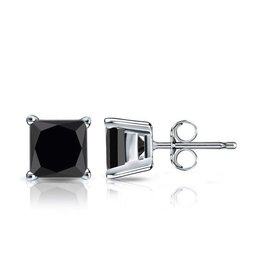 Studs Square Black CZ (4mm)