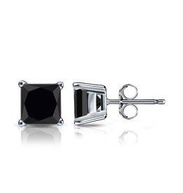 Studs Square Black CZ (5mm)