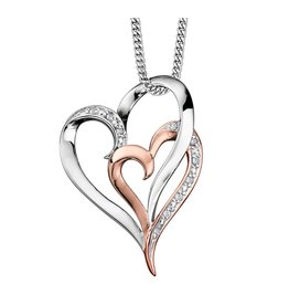 White & Rose Gold (0.035cttw) Double Heart Pendant