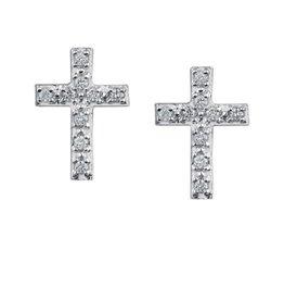 Cross Diamond (0.10ct) White Gold Earrings