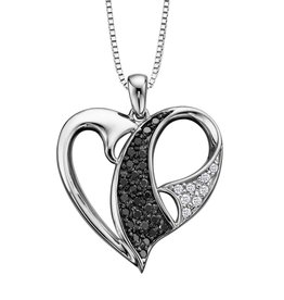 White Gold (0.16ct) Diamond and Black Diamond Pendant