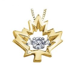 I am Canadian Yellow Gold Maple Leaf Canadian Dancing Diamond Pendant