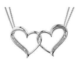 Sterling Silver (0.08cttw) Diamond Double Heart Pendant