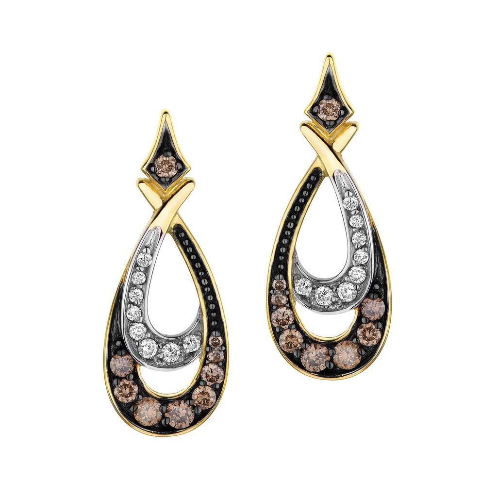 Buy Yellow Gold Brown And Clear Diamond Earrings Online In