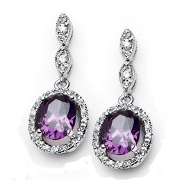 Purple CZ Earrings