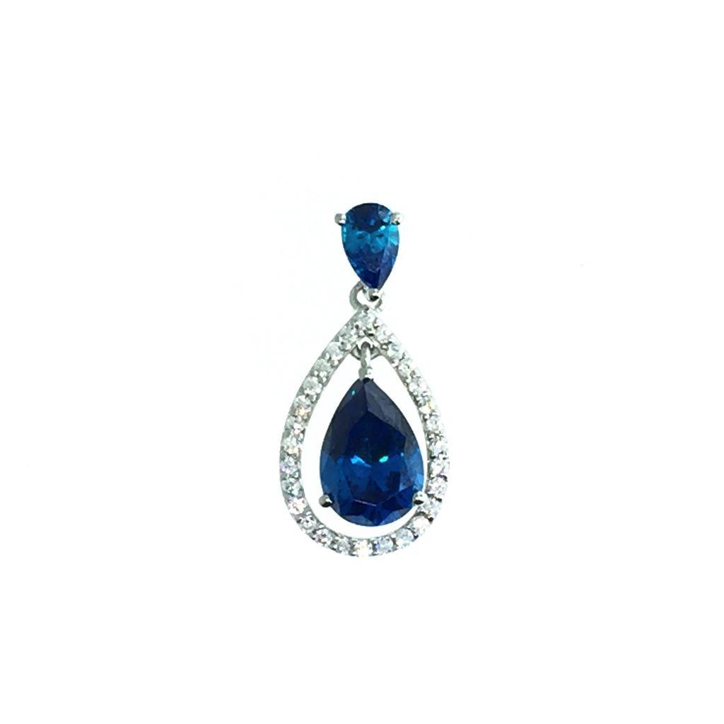Pear CZ Dangle (Blue)