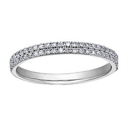 Stackable Band (0.25ct)Double Row Diamond Band 10K White Gold