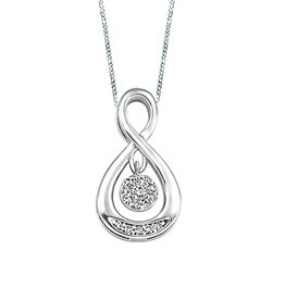 White Gold (0.07cttw) Dancing Diamond Pendant