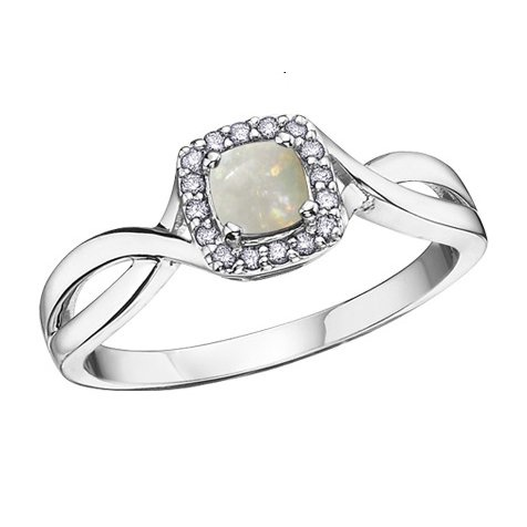 Buy White Gold Diamond Opal Ring Online In Canada