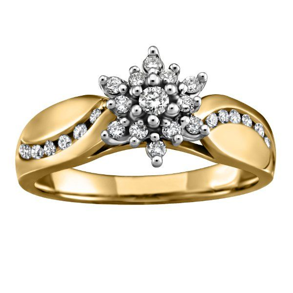 Buy Yellow Gold Diamond Cluster Ring line In Canada Boulevard